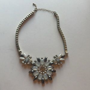 Boutique gold black crystal white necklace